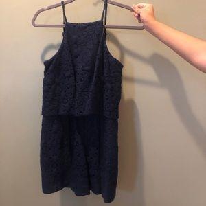 Navy blue lace romper